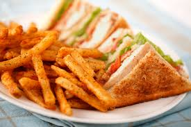 Classic Club Sandwich with French Fries & Chicken