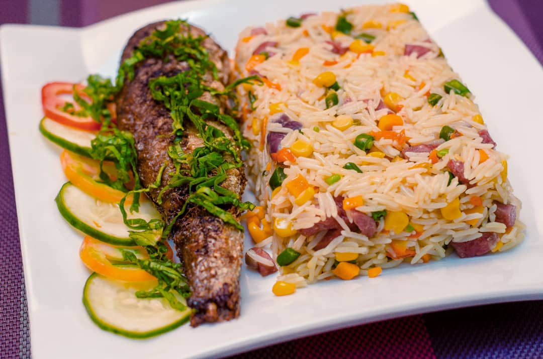 Coconut basmati rice with fish or chicken