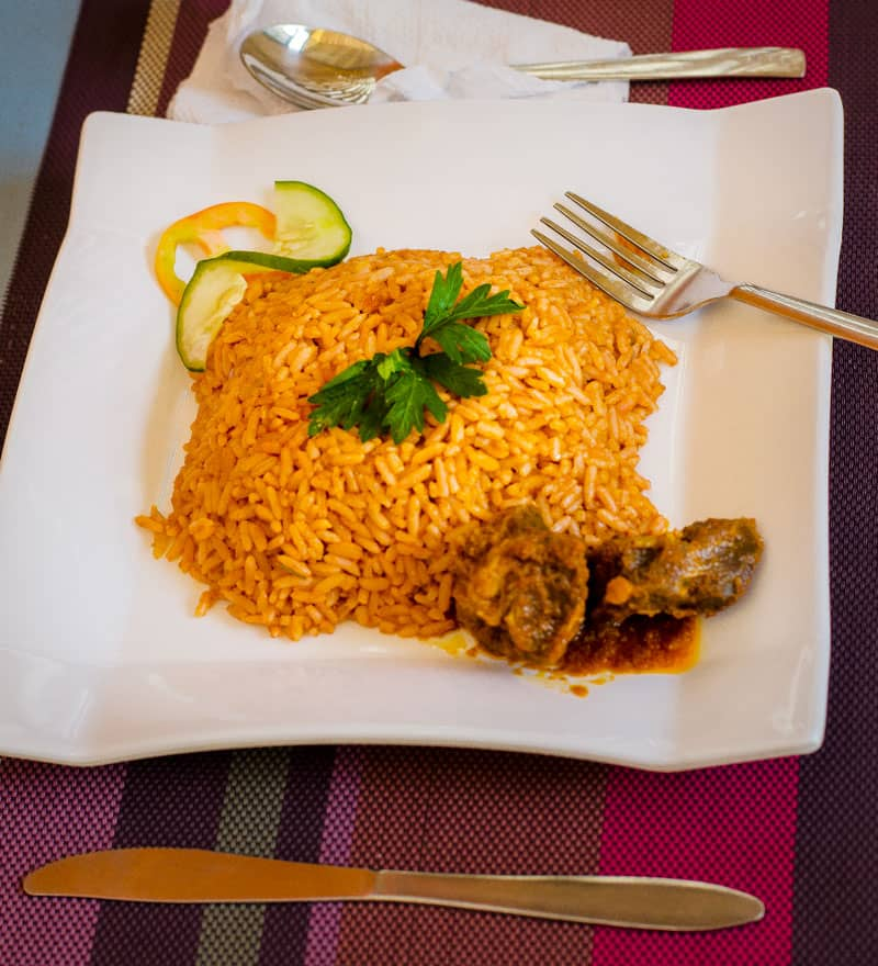Jollof rice with beef