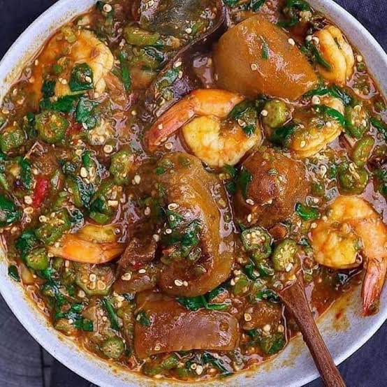 Okro soup with meat and swallow