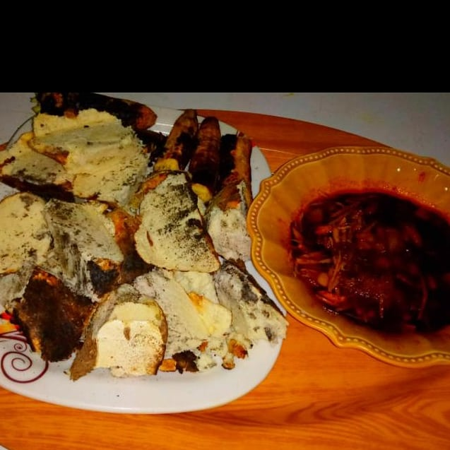 Roasted yam and plantain with ugba sauce