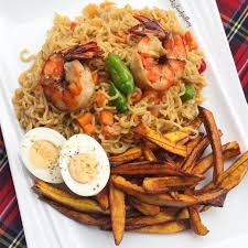 Noodles, Plantain, Boiled Egg and Shrimps