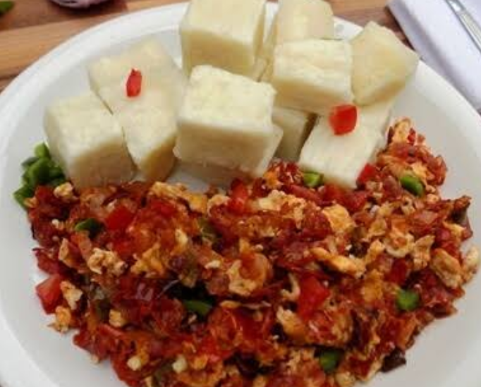 Boiled or Fried yam with egg sauce