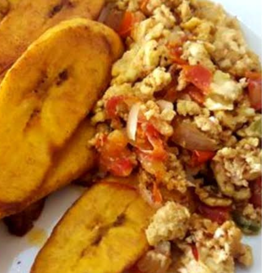 Fried or Boiled Plantain with Egg Sauce